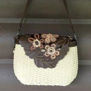 Brighton Straw leather flap flower petal hand bag